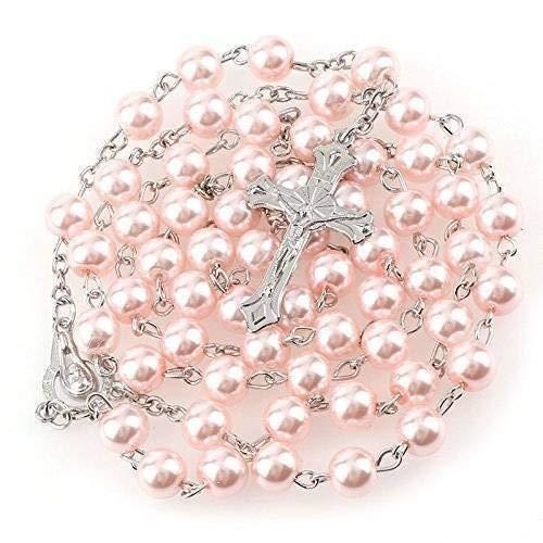 Rosenkranz mit rosa Perlen Schmuck 56 cm