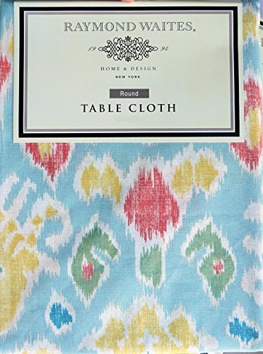 raymond-waites-fabric-tablecloth-geometric-pattern-yellow-green-red-blue-cream-60-inches-x-102-inche