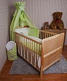 Amilian® Baby Bettwäsche Himmel Nestchen Bettset MIT STICKEREI 100x135cm Neu für Babybett Elefant grün Vollstoffhimmel