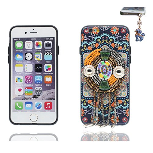 "iPhone 6 6s Hülle Cover, 3D Bead Zubehörteil, TPU Flexible Uniquedesigned Nationaler Stil Slim Bling iPhone 6 Handyhülle 4.7"", iPhone 6S case 4.7"" Kratzer beständig & Staubstecker # 2"