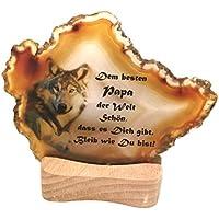 Achatscheibe Edelstein Mineralien auf Holz/Teelicht Natur einzigartig kreatives Geschenk für Geburtstag Liebe Freunde Text und Motiv: Bester Papa Wolf