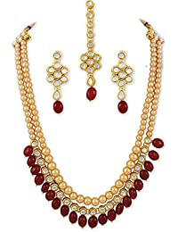 Karatcart 22K GoldPlated Antique Origins Kundan Ruby Tumble Long Necklace For Women