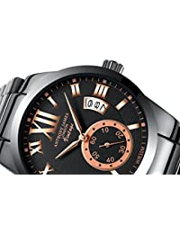 ANTHONY JAMES OF LONDON VINTAGE Men's Designer Business Casual Dress Wrist Watch For Men With Black And Gold Dial, White Calendar And Stainless Steel Links Strap January Sale, 90 Day Returns