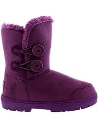 273222bdb Mujeres Doble Button totalmente alineada botas piel impermeable de la nieve  del invierno