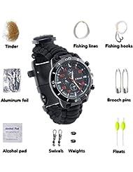 16 en 1 Montre bracelet paracorde Survival Bracelet tressé Outdoor Watch kaisi 3 m Corde Paracord Outdoor Camping Corde de Survie pour la Survival Expedition Camper Bracelet de Montre 16 en 1 zunder,