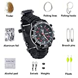 16 in 1 Paracord Survival Armband Uhr Outdoor Watch KAISI 3 Meter Paracord Seil Outdoor Camping Survival-Seil zum Armband geflochten Survival Expedition Camper Uhrenarmband 16 in 1 Zunder, Angelschnur , Haken, die Schwimmer, Fische zu fangen, Stecker, Alkohol, Baumwolle, Alufolie Papier, Büroklammern , Poker zu spielen, Klinge, Überlebenspfeife , Uhrenarmbänder , Kompass, Thermometer (1PCS)