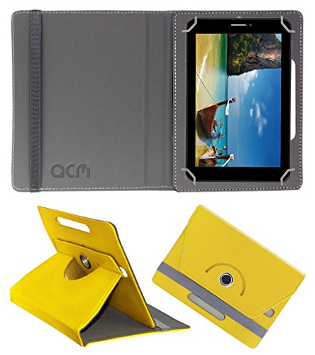 Acm Rotating 360° Leather Flip Case for Iball Slide 2g 7236 Cover Stand Yellow  available at amazon for Rs.149