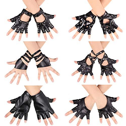 guanti pelle mezze dita SATINIOR 6 Paia Guanti da Donna in Pelle Senza Dita Punk Rivetti Guanti in Pelle Mezze Dita Guanti