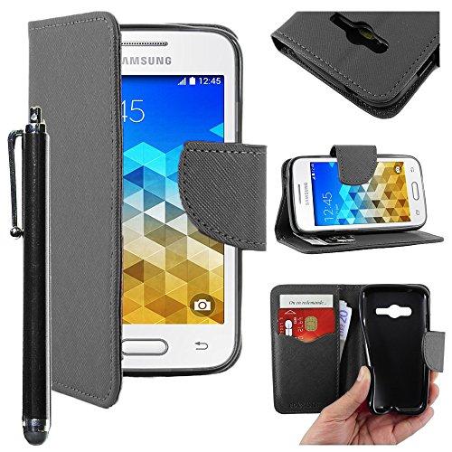 ebestStar - Compatibile Cover Samsung Galaxy Trend 2 Lite SM-G318H, Galaxy V Plus Custodia Portafoglio Pelle PU Protezione Libro Flip + Penna, Nero [Apparecchio: 121.4 x 62.9 x 10.7mm, 4.0'']