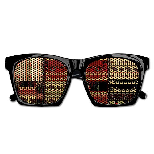 EELKKO Mesh Sunglasses Sports Polarized, Patchwork Style Asian Pattern with Elephants and Cultural Ancient Motifs Print,Fun Props Party Favors Gift Unisex