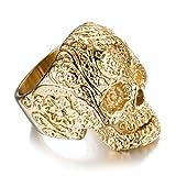 AUMRET Halloween Titan Stahl Männer Persönlichkeit Schädel Gold Ring (12)
