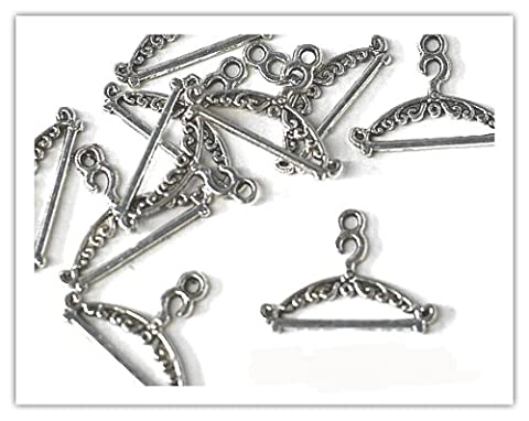 10 x Antique Silver Plated 'COAT HANGER' Charms. Jump rings included for attachments. Universal use for Jewellery & Card Making *FASHION CHARMS* (Ref:10A71)