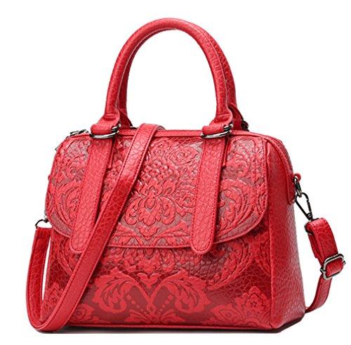 Yan Show Damen PU Freizeit Schultertaschen Geprägt Handtasche Mädchen Einfachheit Umhängetaschen Rot