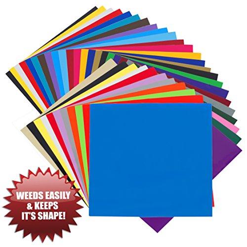 EASY WEED RELEASE Vinyl Selbstklebefolie - 35 BOGEN 30.5cm x 30.5cm - Nicht dehnend - Made in USA – Geeignet für Cricut, Silhouette Cameo, Oracal Schneideplotter, Drucker, Plotter, Buchstaben, Aufkleber, Schilder von Angel Crafts