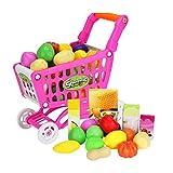 17pcs Mini Trolley Toy Set Plastica Supermercato Carrello Spesa Giocattolo con Frutta Artificiale Verdure E Cibi Pretend Playing Games for Kids Rosa