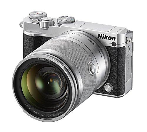'Nikon 1J5Digitalkamera mit austauschbaren Glasfaserkabel mit Objektiv Nikkor VR 10–100mm f/4.0–5.6, 20.8Megapixel, 4K Video, LCD Touchscreen Schwingdeckel 3, MICRO SD 16GB 300x Lexar, silber [Nital Card: 4Jahre Garantie]