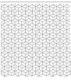 Abakuhaus Duschvorhang, Symmetrischer Quadrat Design Geometrisches Schema Quadrate Blocks 3 Dimensionaler Digital Druck, Blickdicht aus Stoff mit 12 Ringen Waschbar Langhaltig Hochwertig, 175 X 200 cm