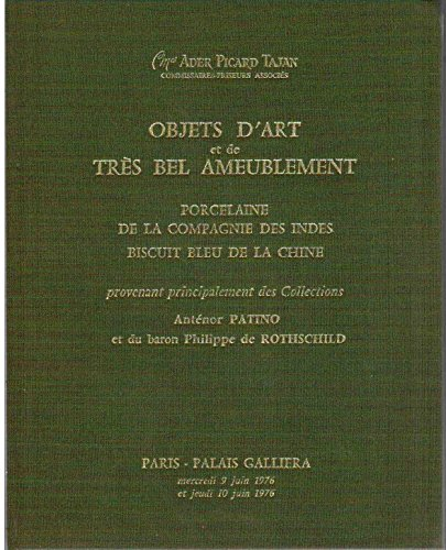 Objets d'art et de très bel ameublement : porcelaine de la compagnie des Indes - biscuit bleu de la Chine provenant principalement des Collections Anténor Patino et du baron Philippe de Rothschild / 9-10 juin 1976 - Catalogue ventes Palais Galliera par Ader Picard Tajan