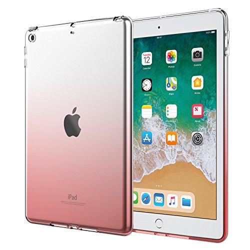 MoKo Hülle für iPad 9.7 2018/2017, Premium Weiche Skin Flexible Bumper Transparent TPU Silikon Rückabdeckung Protector für Apple iPad 9.7 inch (iPad 5, iPad 6), Farbverlauf Rosa