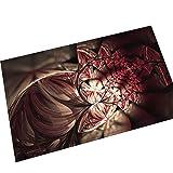 AMDXD Flanell Teppich Rot Phantom Blumen Design Teppiche für Schlafzimmer Wohnzimmer Bunt 60x40CM