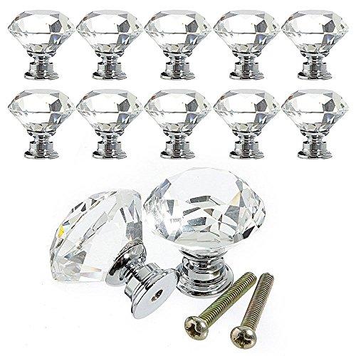 Preisvergleich Produktbild Racksoy 10x Deko. Zinklegierung Kristallglas Schubladenknöpfe Garderobe Ziehgriffe Möbelgriff 30mm Silber Transparent