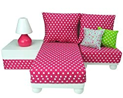 18 Inch Doll Furniture Set: White Chaise, Chair, Ottoman, Lamp, Hot Pink/White Polka Dot Cushions, 2