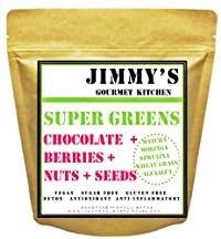 Jimmy's Gourmet Kitchen Green Granola (Matcha Spirulina Chlorella Moringa)(Chocolate+Berries+Nuts+Seeds)(Maple Syrup)(Gluten Free Vegan Low Sugar)(500g)