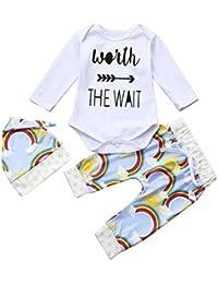 smileq 3pcs bebé Pelele Conjunto Ropa manga larga Top Rainbow gorro de pantalones trajes, ...