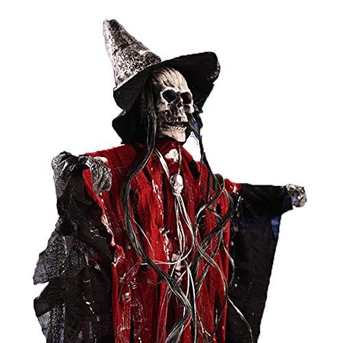 Shihsiboss Halloween Dekoration Skeleton Hanging Ghost mit leuchtenden Augen Scary Sound, Sprachsteuerung Halloween Requisiten für Haunted House Indoor Outdoor Halloween Party,Red