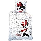 Disney Bettbezug und Kissenbezug, Aufdruck: Minnie Maus, 100% Baumwolle, weiß, weiß, 140 x 200 cm