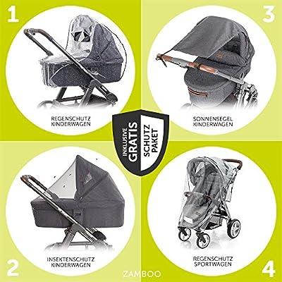 Hauck 10-teiliges Kinderwagen-Set 2in1 - Saturn R Duoset - inkl. Babywanne, Buggy und Zubehörpaket, Kombikinderwagen ab Geburt bis 25 kg - Lunar Stone