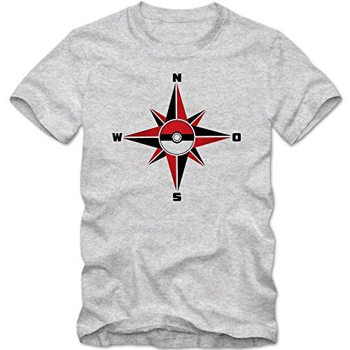 Pokemon Compas Tee-Shirt   Adulte Homme   Rosa des Vents   Pokemon   Comic   Pokeball   T-Shirt, Couleur:Graumeliert (Grey Melange L190);Taille:Large