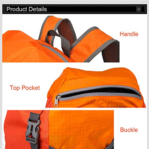 Ranbow di grande capienza zaino alpinismo Daypack Oxford Tessuto zaino 35L, Arancione arancia