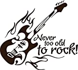 GRAZDesign 600166_40_080 Wandtattoo Wandaufkleber Musik Never to old to rock Spruch mit E Gitarre (44x40cm//080 braun)