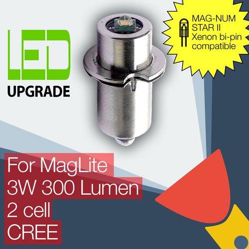 Maglite Led Conversion (Maglite Umbau/Upgrade LED-Leuchtmittel für MAG-NUM Star II Bi-Pin, Maglite Taschenlampe 2D/2C Zelle Cree XP-G2)