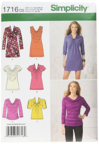 Simplicity 1716.d5 Schnittmuster Knit Top und Mini Kleid (Top Draped Knit)