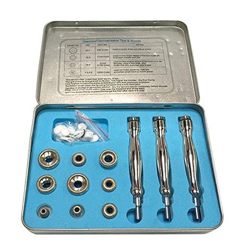 Microdermabrasion Ersatz (carejoy Diamant-Dermabrasion-mikrodermabrasions-Set 3Zauberstäbe 9Tipps Baumwolle Filter Ersatz mit Metall Fall)