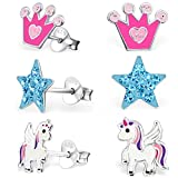 GH* KIDS 3 PAAR Ohrstecker Pegasus Einhorn + Kristall Stern + Krone 925 Echt Silber Mädchen Kinder Ohrringe XM110