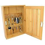 Pequeño armario para llaves Taylor & Brown para montar en la pared, fabricado en bambú, con corchetes y ganchos