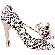 Hosaire Broche de Zapatos de Tacón Alto 3X4cm Broches y prendedores Retro Pin Ramillete Acero Inoxidable coloridas para el banquete de boda del cristal