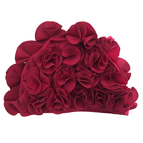 Fletion Damen Mädchen Vintage Beanie Blütenblatt Badekappe Bademütze Schwimmkappe Duschhaube für langes Haar Heiße Quellen (Blumen-schwimmen-kappe Für Mädchen)
