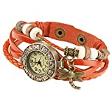 Taffstyle Damen-Armbanduhr Retro Vintage Geflochten Leder-Armband mit Charms Anhänger Analog Quarz Uhr Libelle Gold Orange