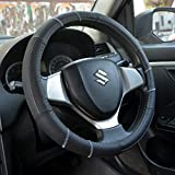 #5: Oshotto 100% Genuine Leather  Car Steering Cover (Black,Medium)
