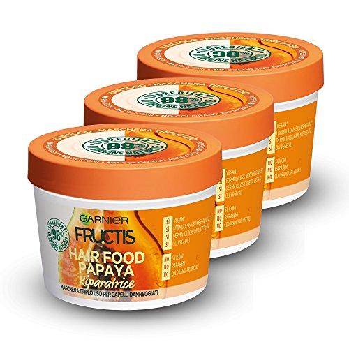 Scheda dettagliata Garnier Fructis Hair Food Papaya Maschera Riparatrice 3 in 1 con Formula Vegana per Capelli Danneggiati, 390 ml