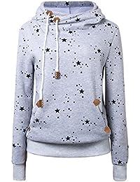 Cassiecy Damen Kapuzenpullover Winter Langarm Hoodie Pullover Baumwoll Zipped Sweatshirt Winterjacke Mantel Outwear