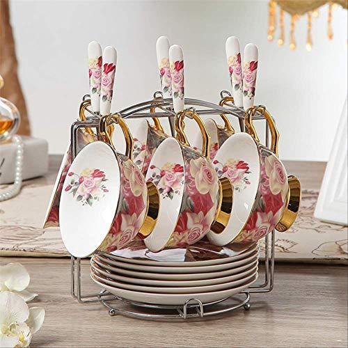 QYYDMKB Vintage Rose Bone China Kaffeeservice Britisches Porzellan Teeservice Keramiktopf...