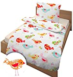 Süsse bunte Mädchen Bettwäsche ♥ EARLY BIRD mit tollem Print Vogel, Blume & Schmetterling - Kissenbezug 80x80 + Bettbezug 135x200 cm - 100 % Baumwolle