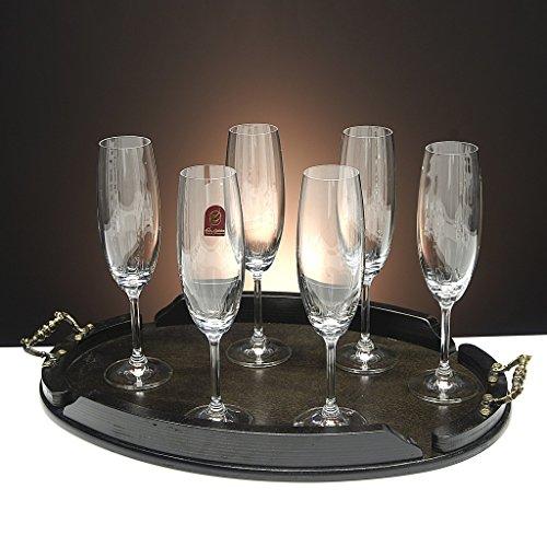 Set/Étui de 6 Coupes en Verre pour Le Champagne, cava ou Mousseux + Plateau en Bois Couleur wenge Ovale, Collection 000\