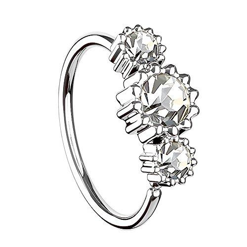 Piersando Universal Piercing Ring für Septum Tragus Helix Ohr Nase Lippe Brust Intim mit 3 Strass Kristallen Silber Clear