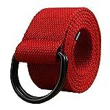 Maikun Herren & Damen Gürtel aus Leinen, D-Ring, 3,8 cm breit, extralang, einfarbig, Schwarz Gr. Taillenumfang 91,44 cm-99,06 cm, Red+Black Ring